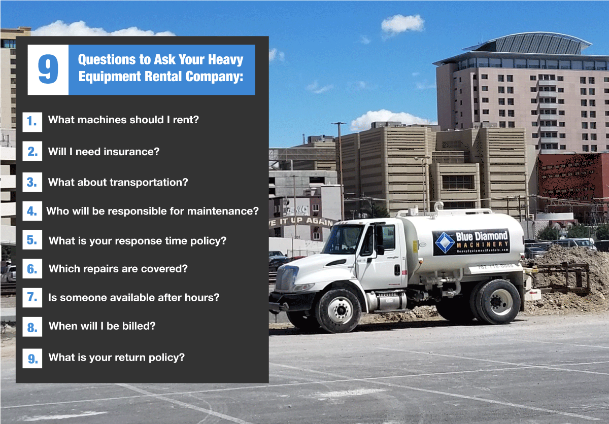 9 questions to ask your heavy equipment rental company before you rent