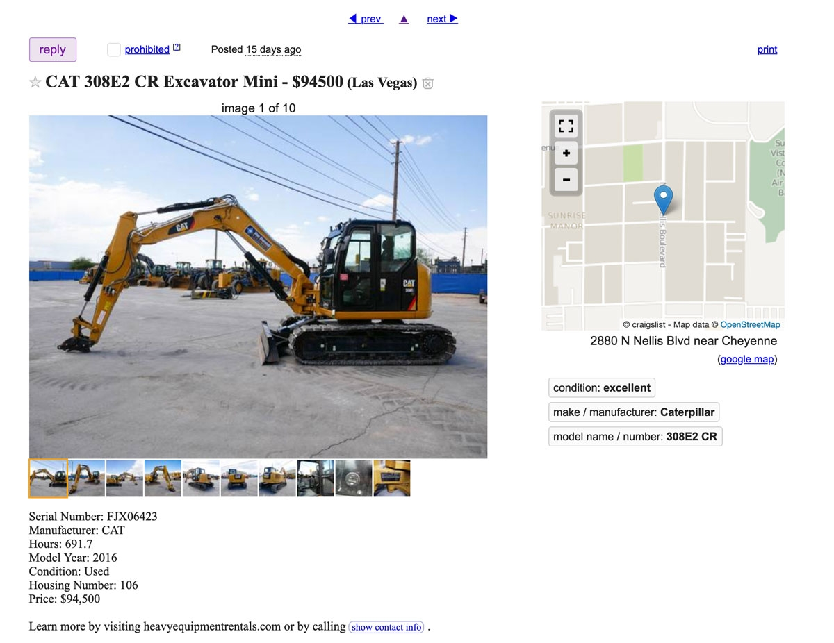 Heavy Equipment Listing on Craigslist