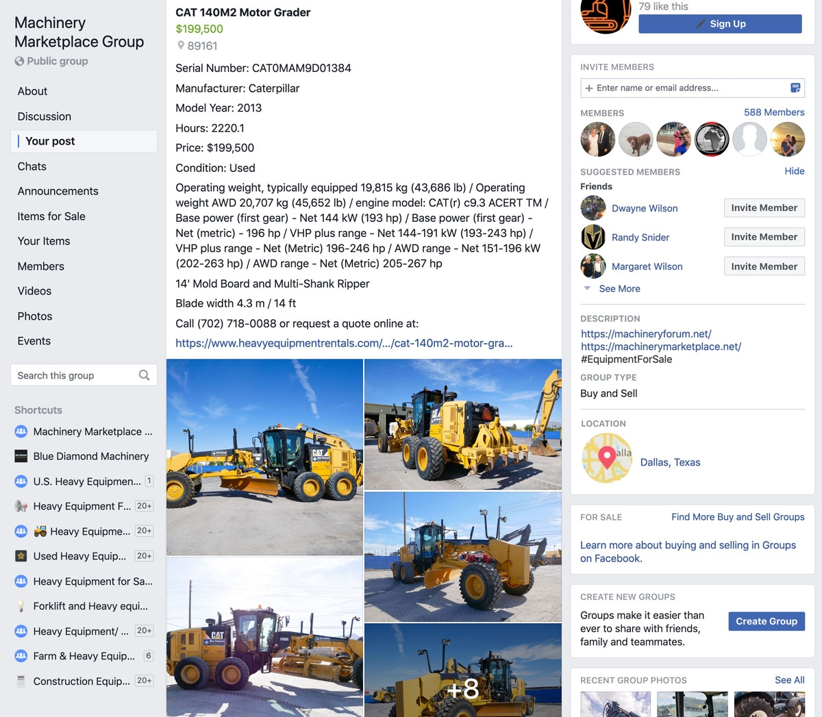 Machinery Marketplace Facebook Group