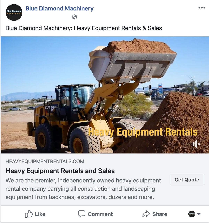 Example of heavy equipment facebook video ad